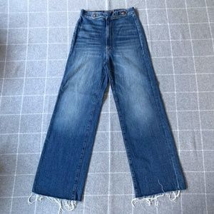 Mother High Waist Wide Leg Raw Edge Jeans - 26